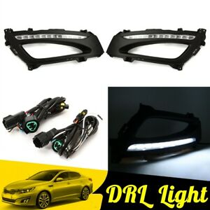White Led Daytime Running Driving Fog Light Drl Lamp For Kia K5 Optima 11 13