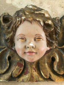 Antique Carved Wood Angel Putti Cherub 58 Long Painted And Gilded Beautiful