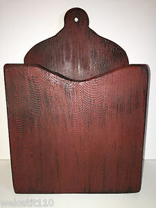 Vintage Primitive Hand Made Wood Wall Box Black Over Red Hand Grained