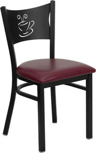 New Metal Coffee Restaurant Chairs Burgundy Seats 20 Chairs free Shipping
