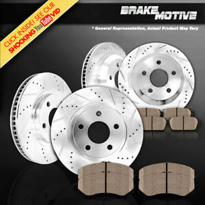 Front And Rear Drilled Slotted Brake Rotors And Ceramic Pads For Jaguar Xf Xj Xk
