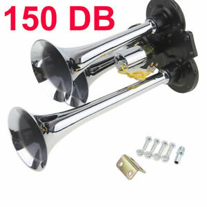 Chrome 12v 150db Super Loud Triple Trumpet Air Horn Horns Car Truck Train Boat