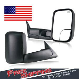 2pcs Towing Mirrors Power Heated Fit 1998 2001 Dodge Ram 1500 2500 Lh