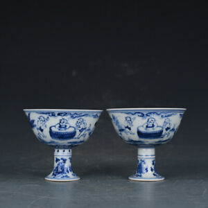 3 A Pair Chinese Old Porcelain Ming Chenghua Mark Blue White Children Cup