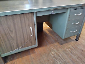 Vintage Steel Age Tanker Industrial Desk Mid Century With Linoleum Top