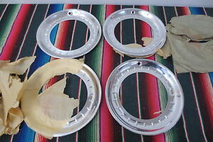Nos 15 Chrome Beauty Trim Rings Hubcaps 1940 S 1950 S Chevy Ford Mopar Acessory