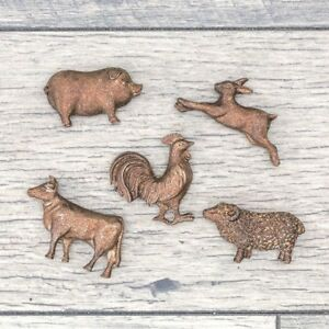 Primitive Farm Animals Rooster Sheep Pig Cow Bunny Cast Metal Magnet Set Of 5