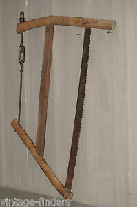 Vintage Wooden Bow Buck Saw Tool Carpentry Woodworking Man Cave Farm Logging A