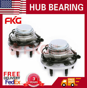 Pair Front Wheel Hub Bearing For Chevy Gmc Pickup Truck 2wd 6 Lug W Abs 515071