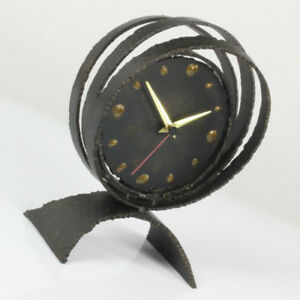 Huge Brutalist Steel Art Desk Clock 60s Mid Century Sculpture Danish Modern