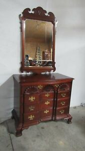 Thomasville Bachelors Chest Dresser Mirror Block Front Chippendale Mahogany