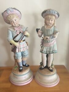 Large 17 Bisque Porcelain Figurines Soldier Boy Girl With Doll