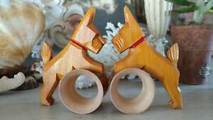 Antique German Collectible Hand Carved Wood Scottie Dog Napkin Ring Set 1930s