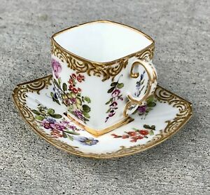 Dresden Germany Miniature Cup Saucer Set With Gold And Flowers