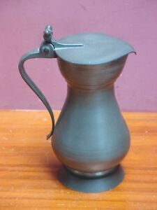 French Pewter Urn Shaped Claret Jug Cider Pitcher Flagon With Lid 2