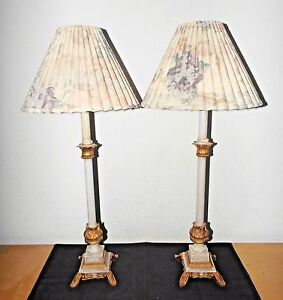 Lamps A Pair Of 31 H Victorian Themed Ceramic Metal Banquet Table Lamps W Shades