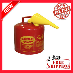5 Gallon Safety Gas Can Eagle Ui 50 fs Red Galvanized Steel Type I Funnel new