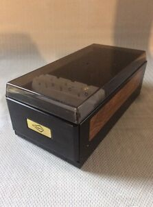 Rogers Rolodex Style Business Card File Box Smoke Tint Black Steel