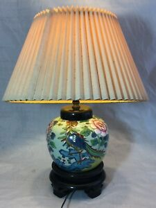 Vintage Chinese Japanese Porcelain Hand Painted Vase Pot Lamp 19 Tall
