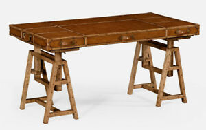 Adjustable Campaign Style Leather Solid Oak Writing Table Desk New Custom