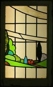 Large Old English Leaded Stained Glass Window Stunning Landscape 21 25 X 35 25