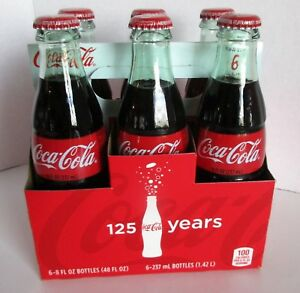 Coca Cola 6 Pack 8 oz Bottle w Carrier 125 Yrs 1886 Open Happiness Sealed 2011