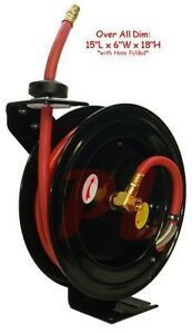 3 8 X 25 Retractable Air Hose Reel Wall Truck Mount 300 Psi Free Shipping