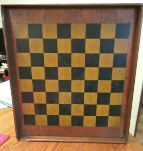 Antique 19thc Solid Wood Painted Gameboard Mellow Original Finish