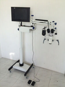 5 Step Dental Microscope Motorized Focusing With Accessories Led Monitor