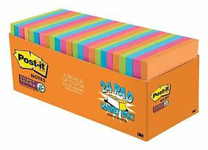Post it Super Sticky 3 X 3 Rio De Janeiro Collection 24 Pads 70 Sheets