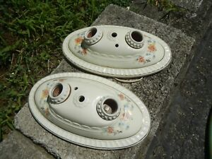 Vintage Matching Pair Ceramic Ceiling Wall Light Fixtures