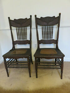 2 Antique Pressed Back Chairs Oak Dining Room Kitchen Chair All Original