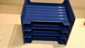 Vintage Set Of Four 4 Rubbermaid Blue In out Trays Item 2551 97