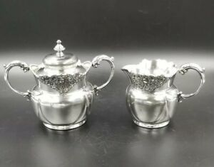 Antique Quadruple Plated Creamer Covered Sugar Bowl By Derby Silver Co 19