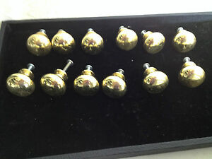Lot Of 12 Solid Brass Drawer Pull Knobs W Screws Vintage Handles Furniture New