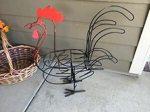 Large Hand Made Vintage Wrought Iron Steel Rooster Planter Sculpture