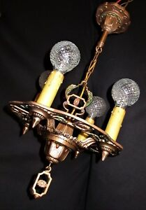 Antique Gothic Revival Art Craft Deco Cast Metal Chandelier Fixture 20 S