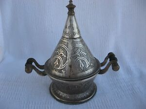 Middle East Hand Fashioned Silver Cone Shape Spice Sugar Container Impress Deco