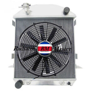 Aluminum Radiator For 1924 1927 Ford Model T Bucket Ford Engine 3row 16 Fan
