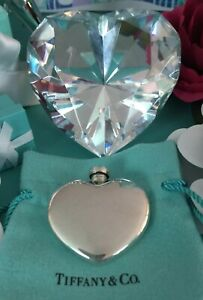 Tiffany Co Heart Perfume Bottle Flask Sterling Silver W Pouch Mothers Day Gift