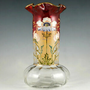 Antique French Legras Art Glass Vase Rubina Cranberry Hand Painted Enamel