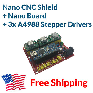 Arduino Nano Cnc Shield 3 axis A4988 Stepper Driver Board Package Kit Free Ship