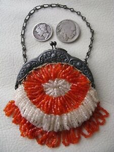 Antique Silver T Floral Frame Orange Bead Czech French Doll Coin Child Purse