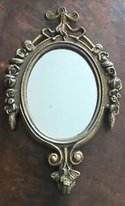 Italian Mirror Miniature Florentine Brass Ornate Oval Metal Frame Italy Decor