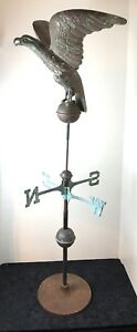Copper Weathervane Eagle Hawk Bird On Base 53 5 H X 21 5 W Americana Vintage
