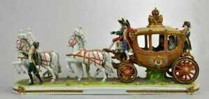 Magnificent Dresden Napoleon Carriage Group Figurine Figure