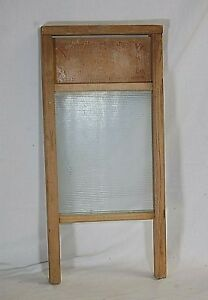 Vintage Antique Primitive Victory Wooden Washboard Ribbed Glass Rustic Wall Art