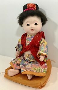 Japanese Ichimatsu Geisha Girl 11 String Jointed Composition Doll With Pillow