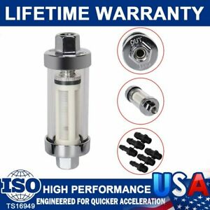 Universal 3 8 1 4 5 16 Fittings Chrome Gas Glass Reusable Inline Fuel Filters