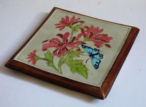 Antique 1900 Trivet Art Nouveau Tile French Butterfly Flowers Longchamps Relief